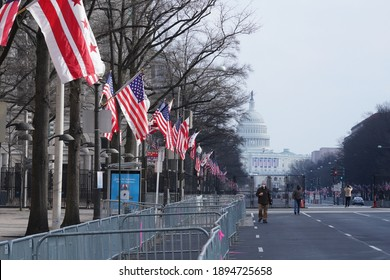 Washington, DC – January 15, 2021: A view looking down Pennsylvania Avenue towards the U.S. Capitol with security barricades installed for the upcoming inauguration.