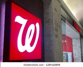 WASHINGTON, DC - JANUARY 19, 2019: WALGREENS -  - sign at entrance to DC retail branch location.