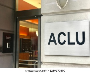 WASHINGTON, DC - JANUARY 19, 2019: ACLU - AMERICAN CIVIL LIBERTIES UNION - sign at entrance to DC office.