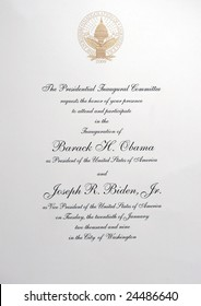 Washington, DC. January 20, 2009. The Official Invitation to the Inauguration of President Barack Obama and Vice President Joseph Biden