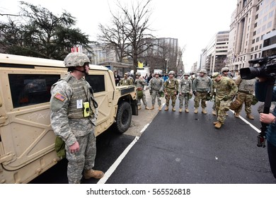 WASHINGTON DC - JANUARY 20 2017: Protests filled Washington DC during Donald Trump's Inauguration Day. National Guard on hand for inaugural security