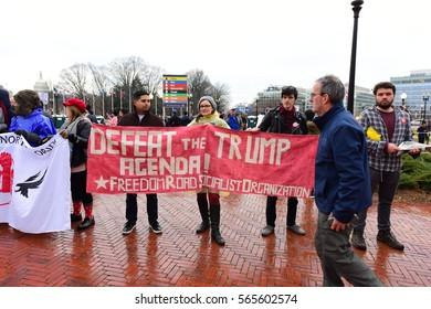 WASHINGTON DC - JANUARY 20 2017: Protests filled Washington DC during Donald Trump's Inauguration Day