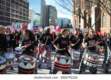 Washington, DC - January 20, 2018: Drummers join the Womens March on Washington to stand up for women's rights.