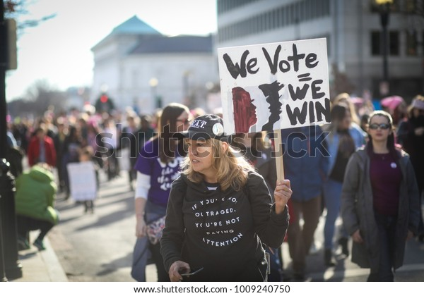 Washington, DC - January 20, 2018: Nearly a year after the historic Women's March on Washington, activists gather in the US capital once again to make their voices heard.