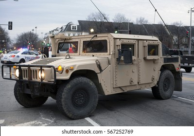 WASHINGTON, DC - JANUARY 20: 74th National Guard Troop Command Vehicle parked for Inauguration of Donald Trump.  Taken January 20, 2017 in District of Columbia.