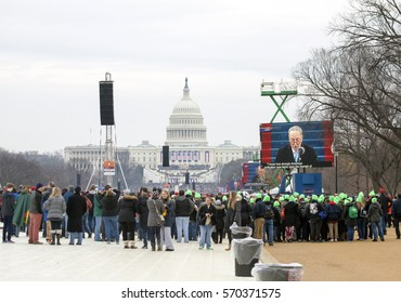 WASHINGTON, DC - JANUARY 20: Crowd during Inauguration of Donald Trump.  Taken January 20, 2017 in District of Columbia.