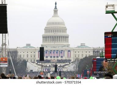 WASHINGTON, DC - JANUARY 20:  Inauguration of Donald Trump.  Taken January 20, 2017 in District of Columbia.