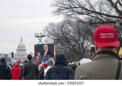 WASHINGTON, DC - JANUARY 20: Man wearing MAGA hat at Inauguration of Donald Trump.  Taken January 20, 2017 in District of Columbia.