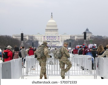 WASHINGTON, DC - JANUARY 20: National guard men on duty during Inauguration of Donald Trump.  Taken January 20, 2017 in District of Columbia.