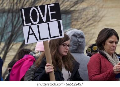 WASHINGTON, DC - JANUARY 21, 2017: Thousands of women participate in the Women's March on Washington in Washington, DC, USA on January 21, 2017.