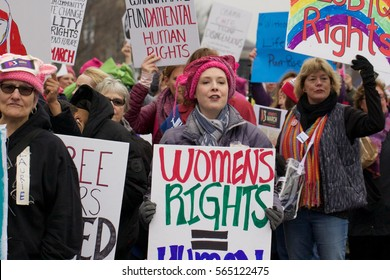 WASHINGTON, DC - JANUARY 21, 2017: Thousands of women participate in the Women's March on Washington in Washington, DC, USA on January 21, 2017.