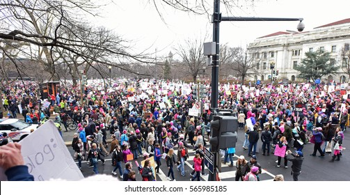 WASHINGTON DC - JANUARY 21 2017: Hundreds of thousands of activists filled Washington DC to protest the Presidential inauguration of Donald Trump.