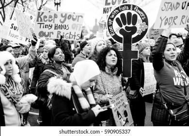 WASHINGTON, DC - JANUARY 21, 2017: Marchers and protesters with signs at the Women's March on Washington