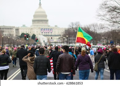 Washington, DC - January 21, 2017: More than 500,000 people attended the Women's March on Washington, which took place the day after the inauguration. Similar marches took place in other US cities.