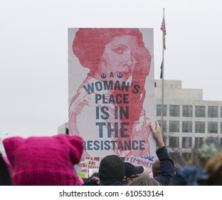 WASHINGTON D.C. - JANUARY 21: Protesters march through the Nations capitol during the Women's March on January 21st of 2017 in Washington D.C.