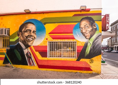 WASHINGTON, DC - JANUARY 22, 2016: Mural depicting two celebrities: President Barack Obama and comedian Bill Cosby, at Ben's Chili Bowl restaurant. Artist: Aniekan Udofia