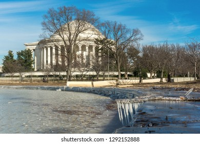 Washington, DC / January 22, 2019: a frozen over Tidal Basin is shown as Washington, DC is in the midst of a deep freeze with below freezing temperatures.