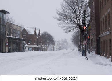 Washington, DC - January 23, 2016: Georgetown deserted and snowy as the blizzard continues