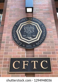 WASHINGTON, DC - JANUARY 25, 2019 : CFTC -Commodity Futures Trading Commission - sign, seal, emblem at headquarters building.