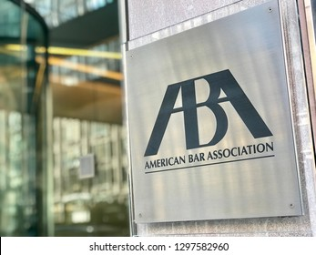 WASHINGTON, DC - JANUARY 28, 2019: ABA - AMERICAN BAR ASSOCIATION - sign at office building entrance.