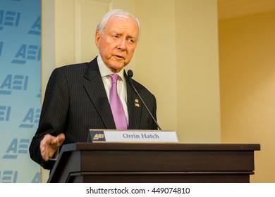 WASHINGTON DC - JANUARY 30, 2016: Utah Senator Orrin Hatch speaks at the American Enterprise Institute about international trade policy.