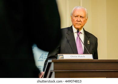 WASHINGTON DC - JANUARY 30, 2016: Utah Senator Orrin Hatch speaks at the American Enterprise Institute about international trade policy.