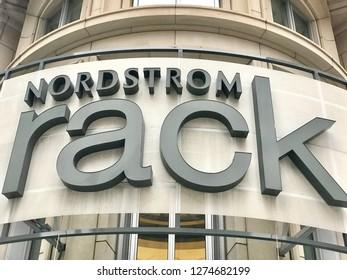 WASHINGTON, DC - JANUARY 4, 2019: NORDSTROM RACK retail store exterior sign.