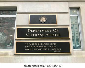 WASHINGTON, DC - JANUARY 4, 2019: VETERANS AFFAIRS DEPARTMENT - headquarters building sign.