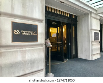WASHINGTON, DC - JANUARY 4, 2019: DEPARTMENT OF VETERANS AFFAIRS - headquarters building sign at entrance.