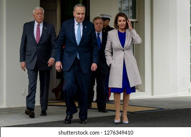 Washington, D.C., January 4 2019: Democratic leaders leave the West Wing of the White House after meeting with Republican leadership in hopes of ending the ongoing partial government shutdown.