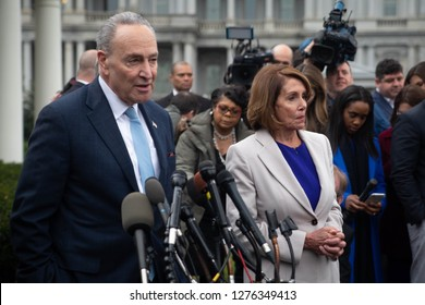 Washington, D.C., January 4 2019: Democratic congressional leaders address the media after meeting with Republicans in an attempt to work out a compromise to end the partial government shutdown.