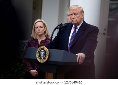 Washington, D.C., January 4 2019: President Donald Trump, speaks to the media in the Rose Garden at the White House after meeting with Democrats to discuss the ongoing partial government shutdown.