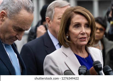 Washington, D.C., January 4 2019: Democratic leaders address the media after meeting with Republicans to work out a compromise to end the partial government shutdown.