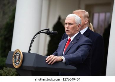 Washington, D.C., January 4 2019: Vice President Mike Pence speaks to the media in the Rose Garden at the White House after meeting with Democrats to discuss the ongoing partial government shutdown.