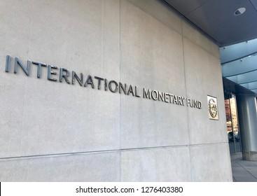 WASHINGTON, DC - JANUARY 6, 2019: INTERNATIONAL MONETARY FUND - IMF - sign at headquarters building entrance.