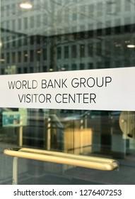 WASHINGTON, DC - JANUARY 6, 2019: THE WORLD BANK VISITOR CENTER - sign at building entrance.