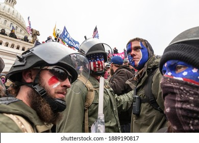 Washington, DC - January 6, 2021: Pro-Trump protesters trying to enter Capitol building