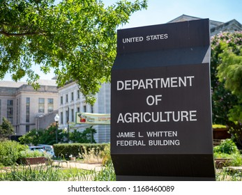 WASHINGTON, DC July 10, 2018: United States Department of Agriculture Jamie L. Whitten federal building entrance sign