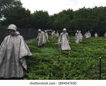Washington DC - July 11, 2015: The Korean War Memorial on a cloudy day