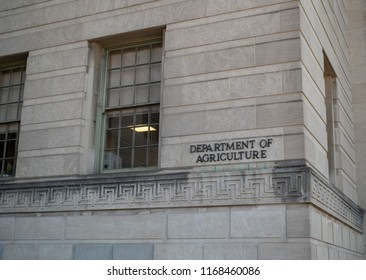 WASHINGTON, DC July 11, 2018: Department of Agriculture building entrance sign