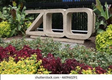 Washington, DC - July 16, 2016: Zoo Sign at Smithsonian National  Zoological Park