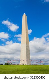 Washington DC - JULY 16,2015.Washington Monument and circle of flags,Washington DC,USA