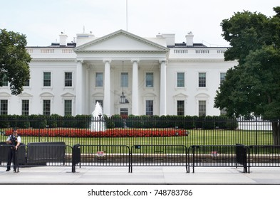 Washington  D.C., July 17, 2017: White House with extra security, July 17, 2017, Washington D.C. USA
