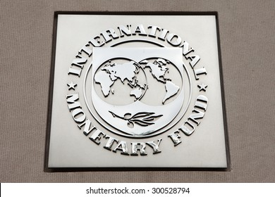 WASHINGTON, DC - JULY  17: Plaque outside the International Monetary Fund (IMF) in Washington, DC on July 17, 2015.