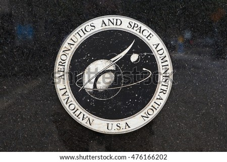 WASHINGTON, DC - JULY 17: Weathered logo at National Aeronautics and Space Administration Headquarters in Washington, DC on July 17, 2015.