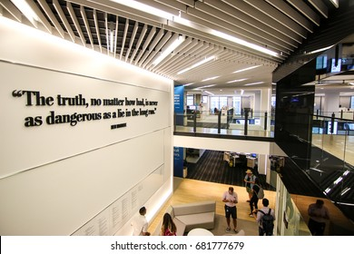 Washington, DC - July 19, 2017: Inside the Washington Post building.