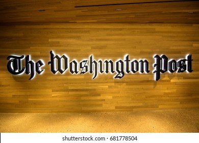 Washington, DC - July 19, 2017: The entrance of the Washington Post building.