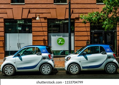 Washington, D.C. - July 20, 2018: Car2Go cars parked in front of Zipcar office