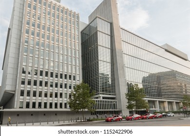 WASHINGTON, DC - July 2018: World Bank Headquarters Building on Pennsylvania Avenue. Bank's two stated goals are to end extreme poverty, and promote shared prosperity in a sustainable way.