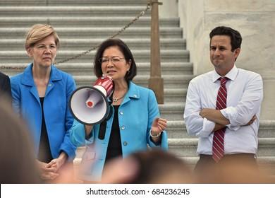 WASHINGTON, DC -- JULY 25 2016: Senator Mazie Hirono addresses crowds outside the Capitol protesting the GOP health bill.